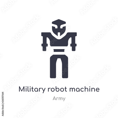 military robot machine icon  isolated military robot machine