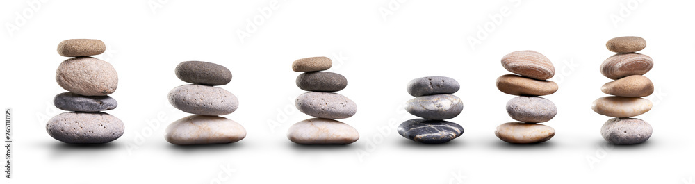 Fototapeta A collection of pile of stones isolated on a white background