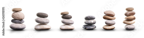 Canvas Print A collection of pile of stones isolated on a white background