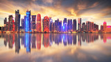 Skyline of modern city of Doha in Qatar, Middle East. - Doha's Corniche in West Bay, Doha, Qatar - 265119756