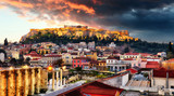 Acropolis with Parthenon temple against sunset in Athens, Greece - 265120711