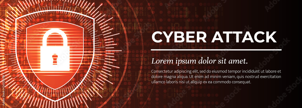 Cyber Attack. The Red Modern Digital Background. Vector.
