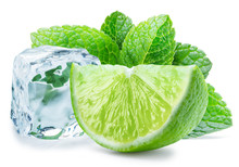 Lime Slice, Mint Leaves And Ic...
