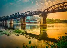 The Bridge On The River Kwai At Sunrise. Railway In Kanchanaburi, Thailand