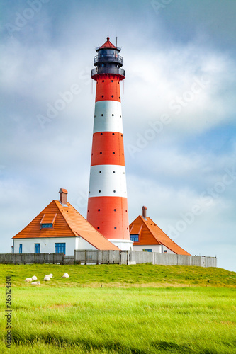 Westerheversand lighthouse, North Sea, Schleswig-Holstein, Germany Wall mural