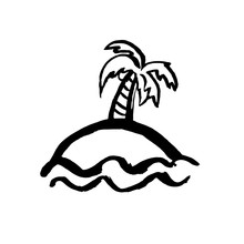 Palm Tree On Island Icon. Vect...
