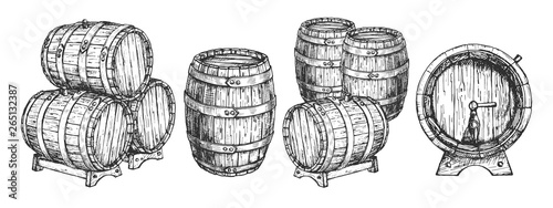 Billede på lærred Wooden beer wine cask or barrels set
