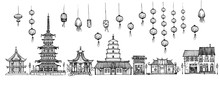 Traditional Pagoda And Lanterns Set
