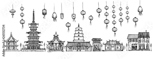 Photo Traditional pagoda and lanterns set