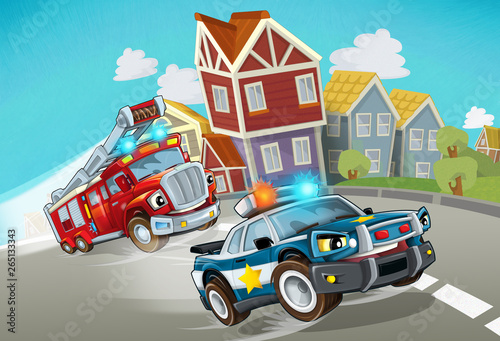 Foto op Canvas Cars cartoon police and fire brigade driving through the city - illustration for children