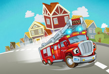 Cartoon Fire Brigade Driving T...