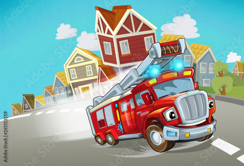 Foto op Canvas Cars cartoon fire brigade driving through the city - illustration for children