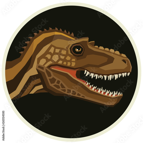 Gorgosaurus Dinosaurs collection  Vector illustration Round frame Canvas Print