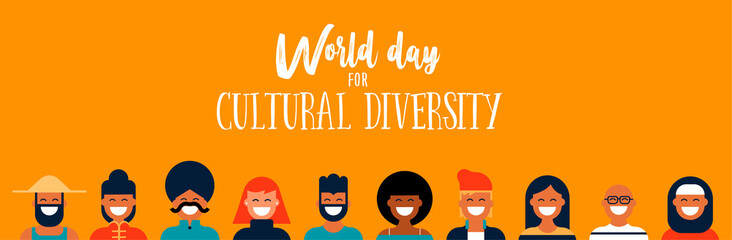 Culture Diversity Day web banner of diverse people icons