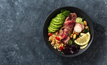 Healthy Food Buddha Bowl With Beef Steak, Beans, Couscous, Avocado And Vegetables On Dark Background With Copy Space