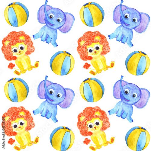 watercolor cute animals elephant, lion and balls seamless pattern