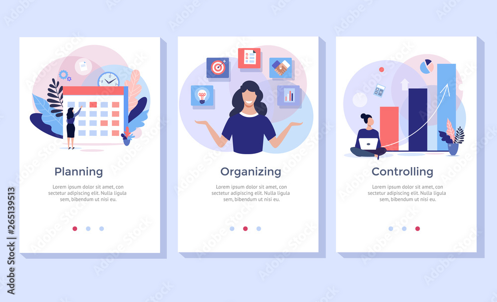 Fototapeta Planning and organizing concept illustration set, perfect for banner, mobile app, landing page
