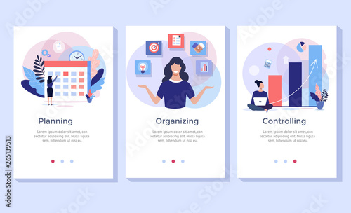 Obraz Planning and organizing concept illustration set, perfect for banner, mobile app, landing page - fototapety do salonu