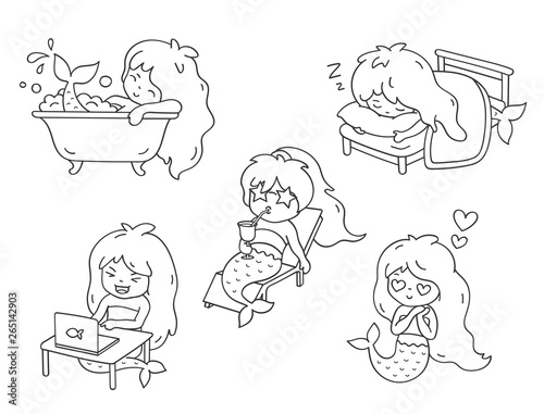 Poster de jardin Chambre bébé Mermaid, sunbathing on a lounger, sleeping, in love, bathing, laughing in front of a laptop. Set of cartoon character for coloring book. Vector outline illustration.