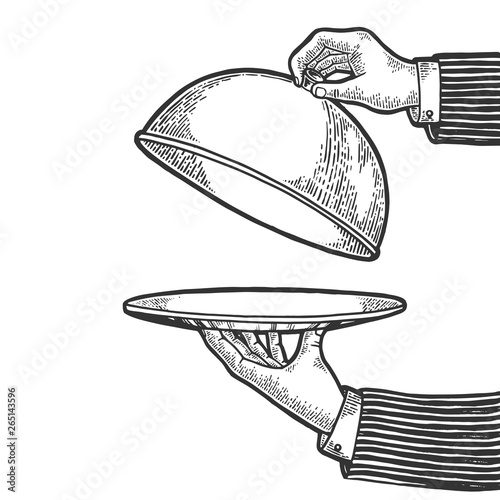 Valokuvatapetti Dish plate with cloche and invisible food sketch engraving vector illustration