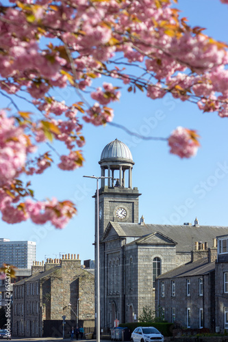 Photo Colourful Blossom and church