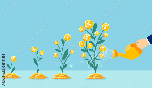 Fotografía  Vector of a business man hand with pot watering profitable money tree