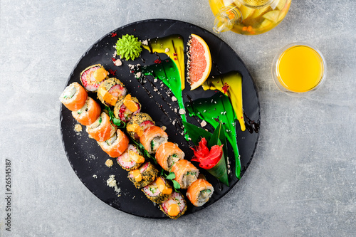 Foto op Aluminium Sushi bar asian sushi set on wide plate, ready meal to eat, seafood