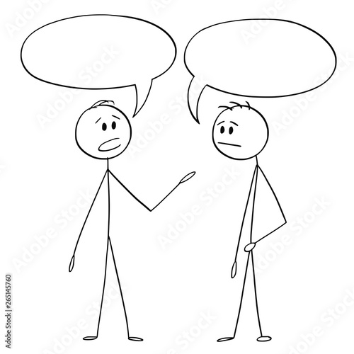Fotografia Cartoon stick figure drawing conceptual illustration of two men or businessmen talking with empty or blank text or speech bubbles or balloons above