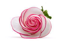 Delicate Rose Of Thin Circles Of Radish With A Green Sprig On A Neutral White Background