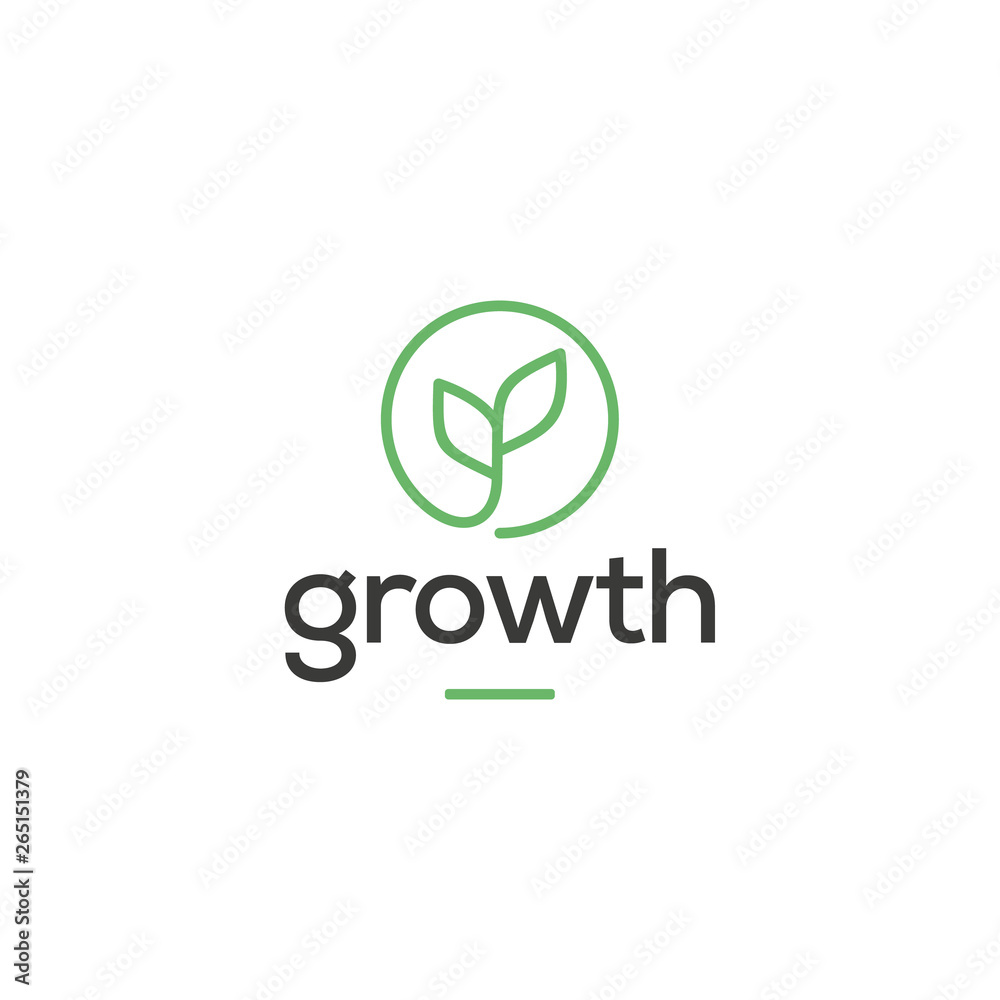 Fototapeta leaf growth logo design