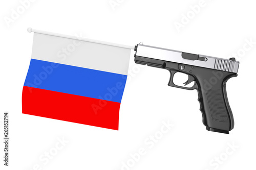 Russia Flag Comming Out from Modern Gun. 3d Rendering Canvas Print