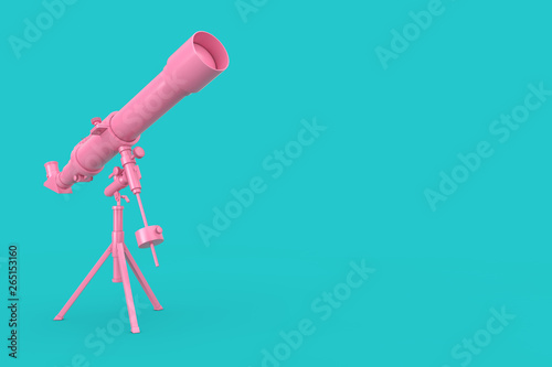 Photo Pink Modern Mobile Telescope on Tripod. 3d Rendering