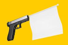 White Blank Flag For Your Design Comming Out From Modern Gun. 3d Rendering