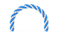 White And Blue Balloons In Shape Of Arc, Gate Or Portal. 3d Rendering
