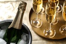 Bottle Of Champagne In Bucket ...