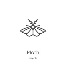 Moth Icon Vector From Insects ...