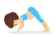 Pregnant woman doing yoga exercise. Pregnancy and fitness