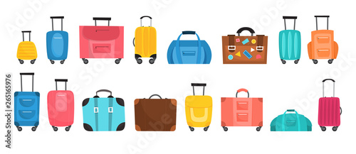Fototapeta Baggage for travel set. Big collection of various suitcase