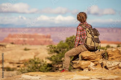 Fototapeta  Hiker in Canyonlands National park, needles in the sky, in Utah, USA