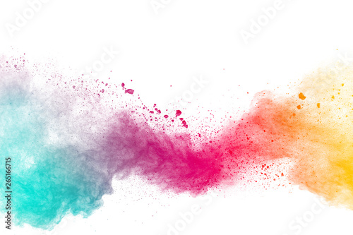 Valokuva Abstract multicolored powder explosion on white background