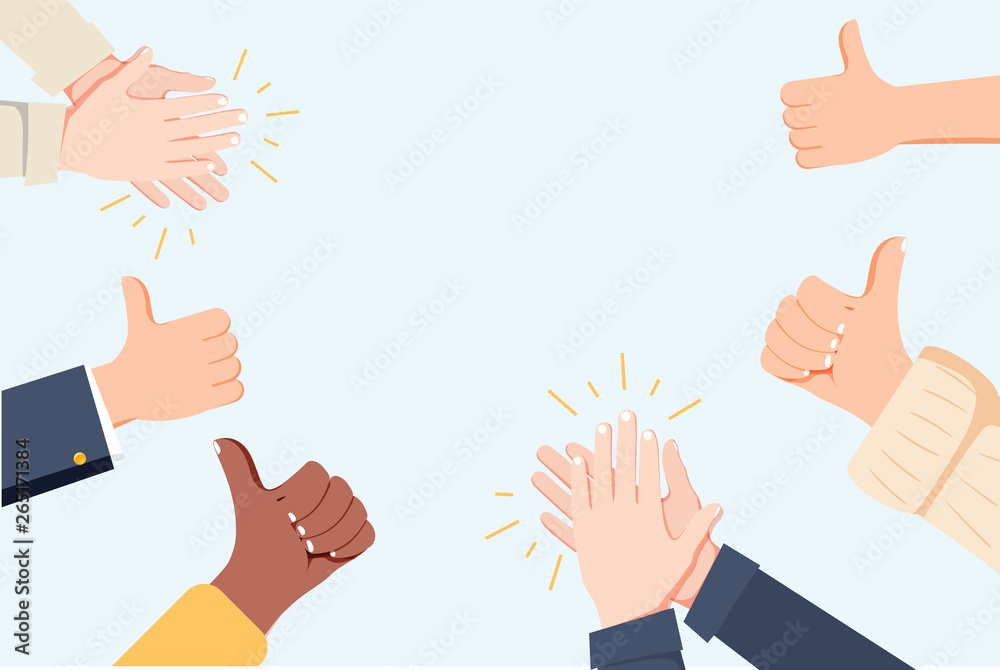 Fototapety, obrazy: Human hands clapping. Applaud hands. Vector illustration in flat style. Many Hands clapping ovation and thumps up