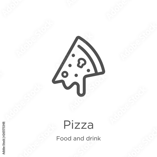 pizza icon vector from food and drink collection. Thin line pizza outline icon vector illustration. Outline, thin line pizza icon for website design and mobile, app development.