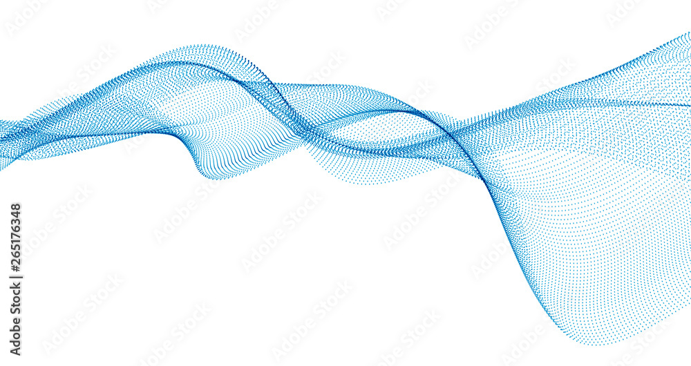 Fototapety, obrazy: 3d particles mesh array, sound wave flowing. Round points vector effect illustration. Blended mesh, 3d futuristic technology style.