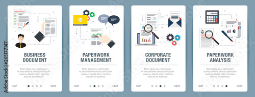 Fotografie, Obraz Vector set of vertical web banners with business document, paperwork management, corporate document, paperwork analysis