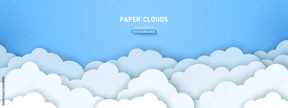 Fototapety, obrazy: Clouds on blue sky banner