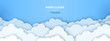 Clouds on blue sky banner