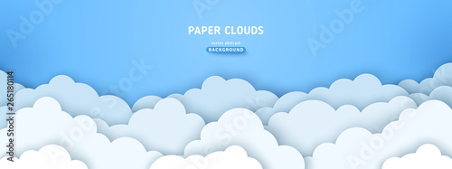 Obraz Clouds on blue sky banner - fototapety do salonu