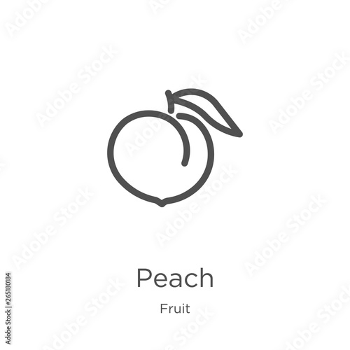 peach icon vector from fruit collection Fototapeta