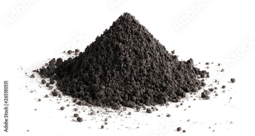 Pile of black soil, isolated on white background Fototapet