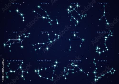 Zodiac constellations set Fototapet
